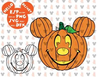 Disney Halloween pumpkin halloween Mickey head Clipart Disney - Cut files - Mouse Die Cuts - Svg Dxf Eps Pdf Png