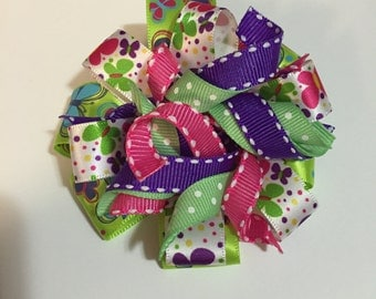 Korker hair bow multicolored barrette curly ribbon butterflies hair bow flower barrette round hair bow colorful hair bow layered hair bow