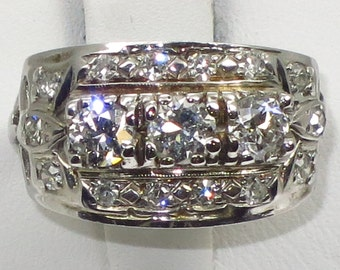 Vintage 14k white gold ring, hand made in 50's with three 0.30ct each si1-g color European cut Diamond and 0.28ct single cut dia t.w 4.30g