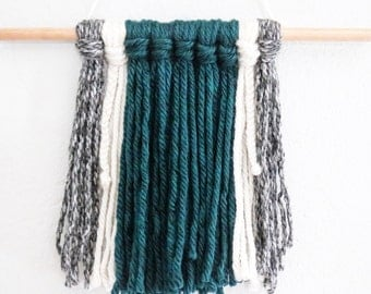 Yarn Wall Hanging-Teal,White,&Grey (straight edge)