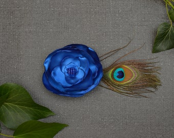 Satin Flower and Feather Hair Clips