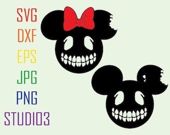 Mickey Minnie Skulls Ears Disney SVG Files, Svg, Dxf, Eps, Studio 3, Png, Jpg, Silhouette Studio,Cricut Files,Silhouete Cameo, Cutting Files