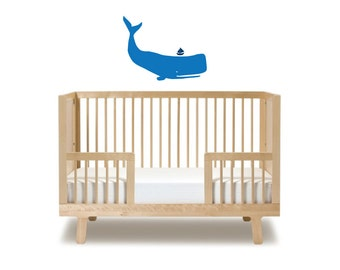Self-adhesive vinyl wall sticker childrens • whale & boat •