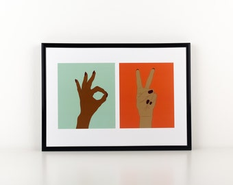 A Ok and Peace Sign Print