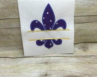 Fleur De Lis Split Embroidery Design, Split Fleur De Lis Applique