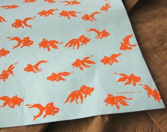 "Aqua with Orange Goldfish Silkscreen Gift Wrap Paper 29x21"" Sheet Midori USA"