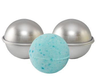"Metal Bath Bomb Mold - DIY - 2 Molds (4 pieces) - 2.55"" Diameter - Premium Finish **Bonus** Bath Bomb Recipe Included!"
