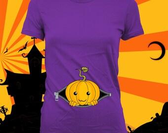 Baby Peeking Out Shirt (Cute Pumpkin) - Halloween Pregnancy Costume, Pregnancy Reveal Shirt, Halloween Shirt, not maternity - CCB-274