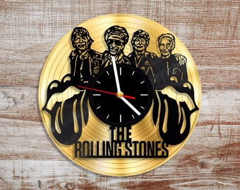 Band music rolling stones vinyl wall clock. Gold record
