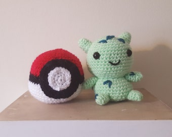 Amigurumi Crochet Pokeball & Bulbasaur-Pokemon Set of 2