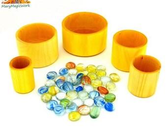 Wooden bowl - Wooden toys - Waldorf toys - Tactile wooden toys - Natural toys - Handmade wooden toys for kids - Montessori toys
