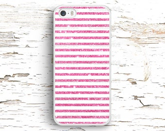 Pink Glitter Stripes Case, iPhone 7 6S 6 SE 5S 5 5C 4S, Samsung Galaxy S6 Edge S5 S4 S3, LG G4 G3, Sony Xperia Z5 Z3, HTC One M8