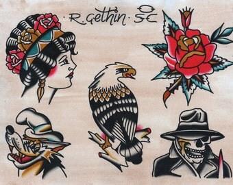Tattoo art print - tattoo flash - traditional tattoo - Sailor Jerry - traditional rose art - vintage tattoo - Eagle art print