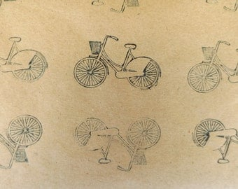 Hand Printed, Navy Blue Bicycle Wrapping Paper