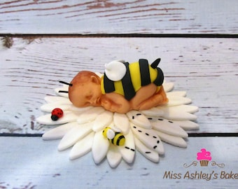Bumble Bee Baby Cake Topper, Fondant Topper, Birthday Topper.