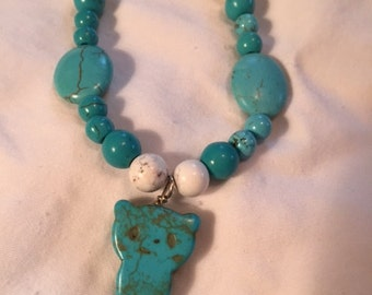 Turquoise Cat-Themed Necklace