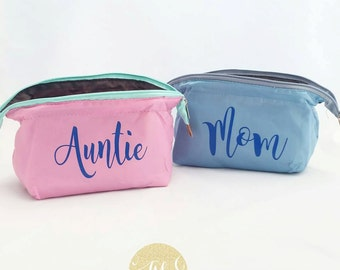 Personalized Cosmetic Wide Mouth Bag, Monogram Cosmetic Bag, Bridesmaid Gift, Teacher Gift, Jewelry Bag, Accessory Bag