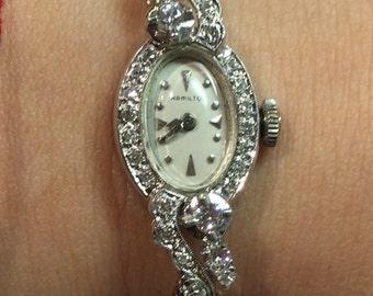 Antique Vintage 14k White Gold Diamond Hamilton Watch