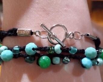 Turquoise & Black Crochet Bracelet