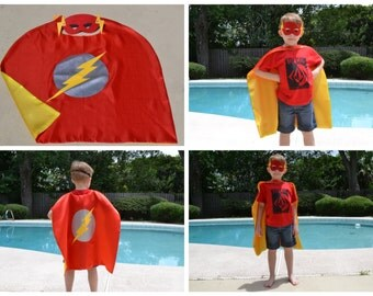 Flash Cape and Mask - Kids And Adult Superhero Costume. Great for Child Toddler Birthday Party Outfit. Personalized Name available