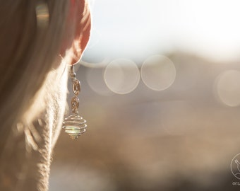 SEAGLASS SUNCATCHER EARRINGS | Handpicked Cornish Seaglass | Spiral | Handmade jewellery | Gifts For Her | Artisan Briollette
