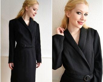 Vintage coat dress, black Gr.S, 50 s