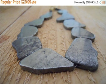 ON SALE Gold pyrite necklace / handmade