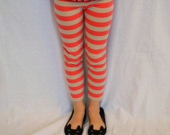 Coral and Tan Striped Leggings- Sizes 2T-12- Two Different Lengths Available