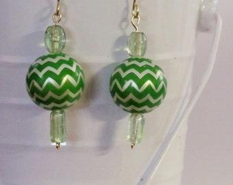 Green and Silver Chevron/Wave Earrings - Green Bead Earrings,