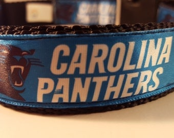 Black & Blue Large Adjustable Panthers Dog Collar, Black Dog Collars, Carolina Panthers Collar, Custom Dog Accessories