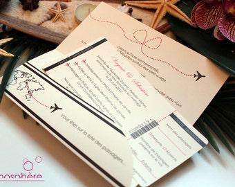 Invitation airfare travel Theme, sea and exotic islands - baptism, birthday, wedding