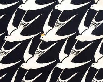 Black and White Fabric | Bird Fabric | Gold Metallic Fabric | Swallows | Sparrows | Flying Birds | Fairy Tale Print | White Birds