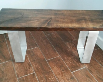 Reclaimed wood and steel bench . Handmade