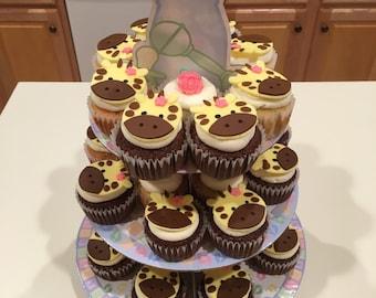 12 fondant giraffe cupcake toppers handmade