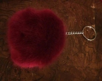 Red wine faux fur bunny tail keychain