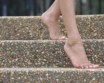 Gold Anklet, Gold Ankle Bracelet, Tiered Anklet, Summer Jewelry