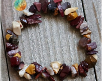 Mookaite Bracelet, Genuine Mookiate Jasper Gemstone Bracelet, Womens Bracelet, Beaded Chip Stretch bracelet,Plexus Chakra, SELF-CONFIDENCE