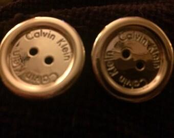 Designer CK-Calvin Klein Gold Tone Button Pierced Earrings