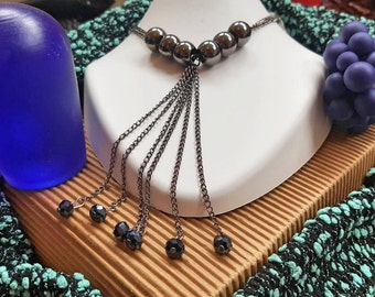 Beaded silver and blue necklace