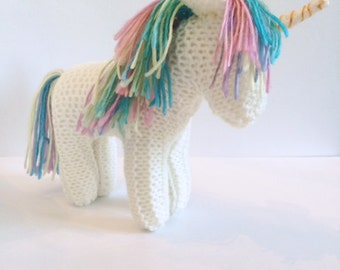 Hand Knit Unicorn - Waldorf Toys - Mythical Animals - Natural Toys - Stuffed Animal - Pretend Play Toy  - Birthday Gift - Magical Toy