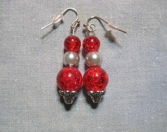 Red & Silver Orb Earrings
