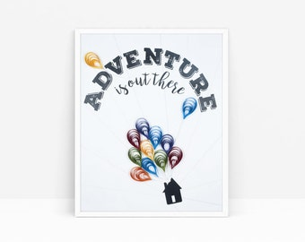 "Quilled ""Adventure is Out There"" Poster Art (8"" x 10"")"