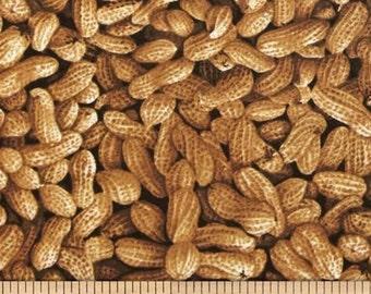 "Fruit Fabric, Vegetable Fabric: Farmer's Market - Farmer John's Peanuts Organic Peanuts Packed 100% cotton fabric by the yard 36""x44"" (N506)"