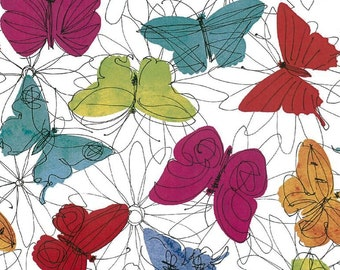 "Butterfly Fabric: Funky floral Butterflies Fabric on White 100% cotton 43"" wide fabric by the yard 36""  (G95)"
