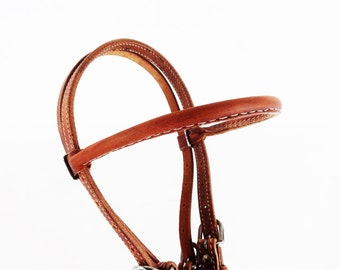 Classic Western Horse Cowhide Horaness Leather TRail Ranch Bridle Headstall Tack