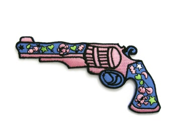 Beautiful Sweet Gun Embroidered Applique Iron on Patch 11.8 cm. x 6.5 cm.