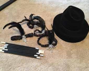 Gatsby 1920's Speakeasy Party Decorations LOT Miscellaneous Items Props Silver Gold Black