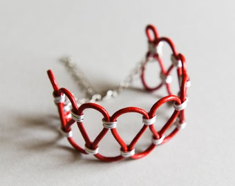 """Cuff Bracelet Rock Leather and Aluminium """"Loop"""" Red and Silver"""