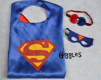 Superman Mask Headband Set - Kids Costume - Superhero - Halloween - Dress Up - Boy Capes - Birthday Party Favors - Super Girl Man Blue Red