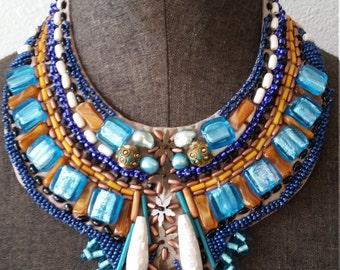 Blue murano and Mother of Pearln embroidered Necklace